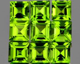 4.00 mm Square 9 pieces 3.32cts Green Peridot [VVS]