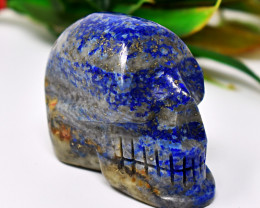 Genuine 510.00 Cts Lapis Lazuli Hand Carved Skull Carving