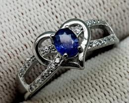 17CT BLUE SAPPHIRE 925 SILVER RING 9 BEST QUALITY GEMSTONE IIGC19