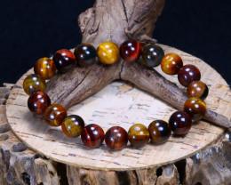144.80Ct Natural Fancy Tiger Eye Beads Bracelet C2606