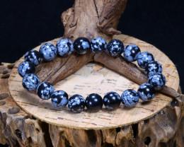 133.25Ct Natural Snowflake Obsidian Beads Bracelet C2613