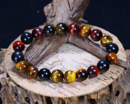150.95Ct Natural Fancy Tiger Eye Beads Bracelet C2616