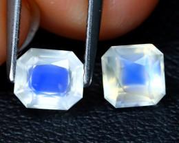 Moonstone 1.41Ct 2Pcs Square Cut Natural Ceylon Blue Moonstone A2610