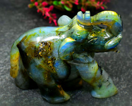 Genuine 337.00 Cts  arats Golden & BLue Flash Labradorite Carved Elephant