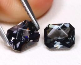 Spinel 1.86Ct 2Pcs VVS Master Cut Natural Burmese Black Spinel A2715