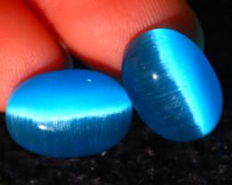 Agate Cat Eye 11.11Ct 2Pcs Natural Blue Agate Cat Eye E0401/C1