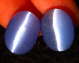 Agate Cat Eye 11.50Ct 2Pcs Natural Blue Agate Cat Eye E0402/C1