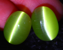 Agate Cat Eye 11.45Ct 2Pcs Natural Green Agate Cat Eye E0403/C1