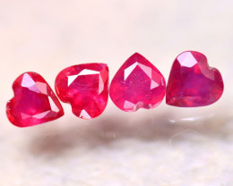 Ruby 3.78Ct 4Pcs Heart Shape Madagascar Blood Red Ruby E0406/A20