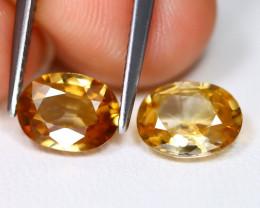 Yellow Zircon 2.66Ct 2Pcs VVS Oval Cut Natural Yellow Zircon B2711