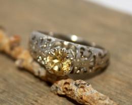 Natural Citrine 925 Silver Ring 378