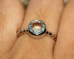 Natural Blue Topaz 925 Silver Ring 367