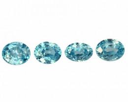 *No Reserve*Blue Zircon 6.31 Cts 4 Pcs Natural Loose Gemstone