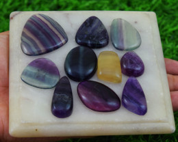 Genuine 262.00 Cts Natural Big Multicolor Fluorite  Cabochon Lot
