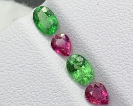 1.79 Cts 4Pcs Fine Quality Unheated Ruby/Tsavorite Layout