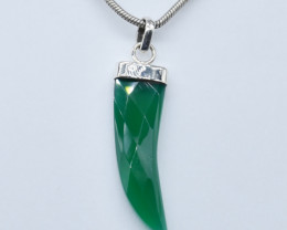 GREEN ONYX PENDANT 925 STERLING SILVER NATURAL GEMSTONE JP184