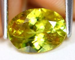 Sphene 1.41Ct Oval Cut Natural Rainbow Flash Green Sphene A2909