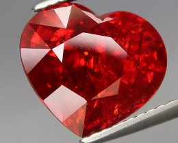 7.95 ct.  Natural Earth Mined  Orange  BIG Red Spessartite Garnet HEART Lov