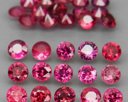 35Pcs/5.26Ct. Diamond Cut 3mm.HEATED ONLY Top Pinkish Red Ruby Mozambique