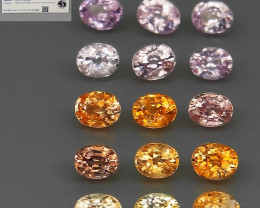 15Pcs/4.58Ct. Certificate Fancy Color Normal Heated Natural Sapphire