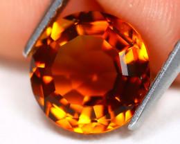 Madeira Citrine 2.57Ct VVS Round Cut Natural Orange Citrine A3014