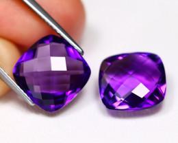 Uruguay Amethyst 9.72Ct 2Pcs Pixalated Cut Natural Violet Amethyst B3001