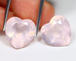 Rose Quartz 10.99Ct 2Pcs VS2 Heart Cut Natural Pink Rose Quartz B3004
