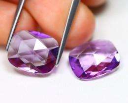 Amethyst 6.67Ct 2Pcs Pixalated Cut Natural Bolivian Purple Amethyst B3013