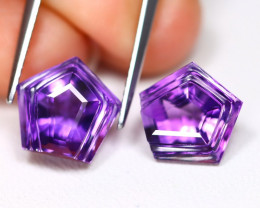 Amethyst 6.96Ct 2Pcs Designer Cut Natural Bolivian Purple Amethyst C3001