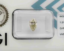 1.01ct Natural Light Yellow Diamond Pear IGI certified  + Video