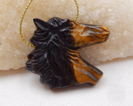 105cts Natural Tiger Eyes Horse ,Hand Carved Pendant ,Carved Horse Pendant