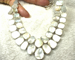 383.0 Tcw. Mother of Pearl / Sterling Silver Necklace - Gorgeous