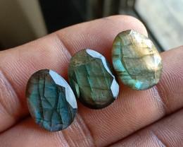 NATURAL LABRADORITE 3 Pcs Rose Cut Gemstones VA3113