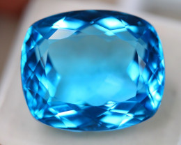 36.91ct Natural Swiss Blue Topaz Cushion Cut Lot D575
