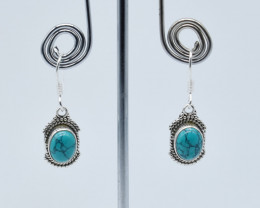 TURQUOISE EARRINGS 925 STERLING SILVER NATURAL GEMSTONE JE85