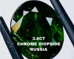 3.83CT CHROME DIOPSIDE FROM RUSSIA- I DISCONNECT MY COLLECTION.  AFTER 36 Y