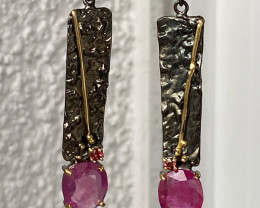58 Ct EARRINGS!!RUBIES ! !HANDMADE , SILVER RHODINIERT