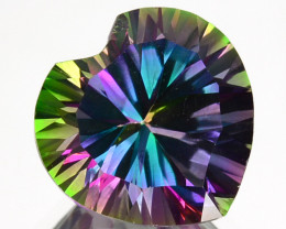 ~RAINBOW~ 4.24 Cts Natural Mystic Topaz 10mm Heart Concave Cut Brazil