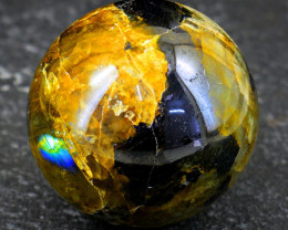 Genuine 590.00 Cts Amazing Flash Labradorite  Healing Ball Hand Carved Carv