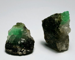 Amazing Natural color Swat Emerald with Quartz 2 specimen 88Cts-P