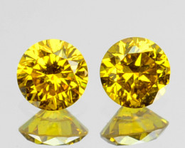 ~SPARKLING~ 0.10 Cts Natural Golden Diamond  2.40mm Round 2Pcs Africa