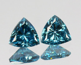 0.05 Cts Natural Diamond Greenish Blue 2Pcs Trillion  3.40mm