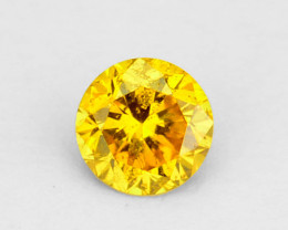 0.08 Cts Natural Diamond Vivid Yellow 2.6mm Round Cut Africa