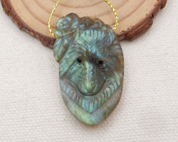 51.5cts Hand Carved Wolf Pendant ,Labradorite Wolf ,Wolf Head Pendant H1528