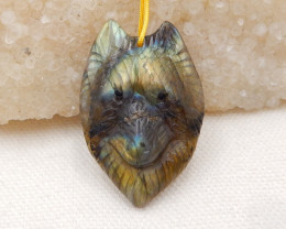 56.5cts Hand Carved Wolf Pendant ,Labradorite Wolf ,Wolf Head Pendant H1529