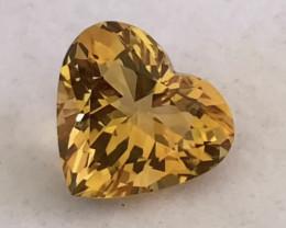 Glittering Golden Yellow Heart Shape Citrine - Brazil KR222
