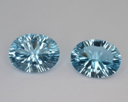 Natural Blue Topaz 15.53 Cts Concave Cut.