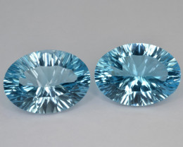 Natural Blue Topaz 17.15 Cts Concave Cut.