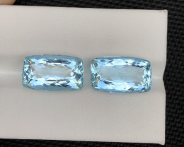 15.42 Carats Brazilian pair Natural Aquamarine Gemstones
