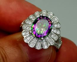 24Crt Mystic Quartz 925 Silver 8 Natural Gemstones JI127